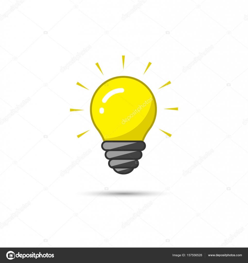 Light bulb icon on white background. Vector illustration. Idea ...