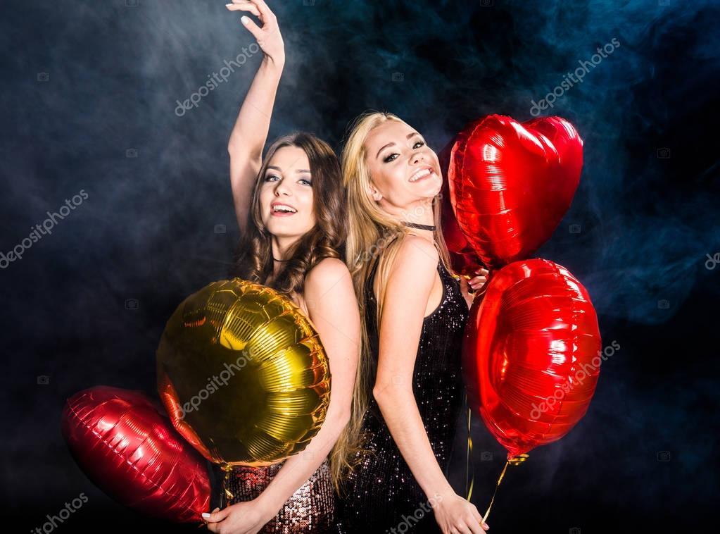 Gorgeous women with balloons
