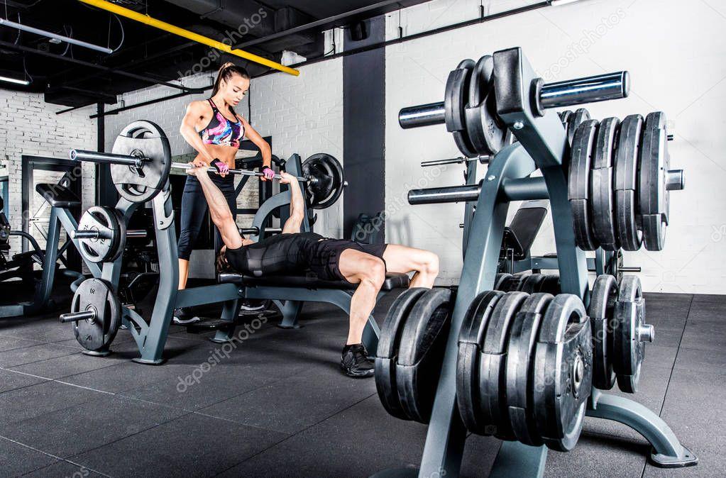 Sportspeople training in gym