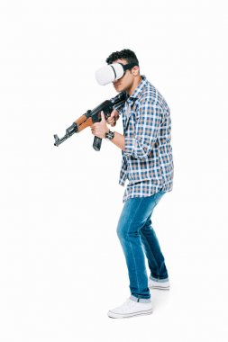 Young african american man in virtual reality headset holding rifle and shooting isolated on white stock vector