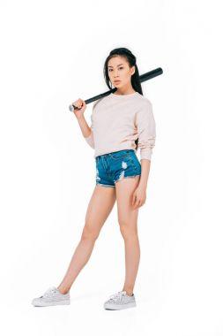 Asian girl with baseball bat