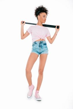 African american girl with baseball bat