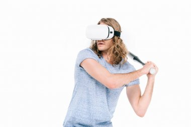 Man in virtual reality headset with bat