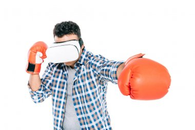 Man boxing in vr headset