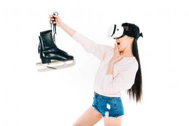 girl in virtual reality headset with skates