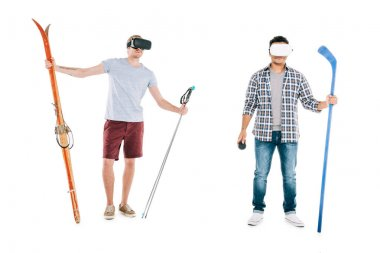 multiethnic men in virtual reality headsets