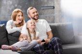 Fényképek boldog család tv-nézés