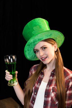 woman celebrating St.Patrick's day