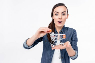 Woman holding shopping cart model