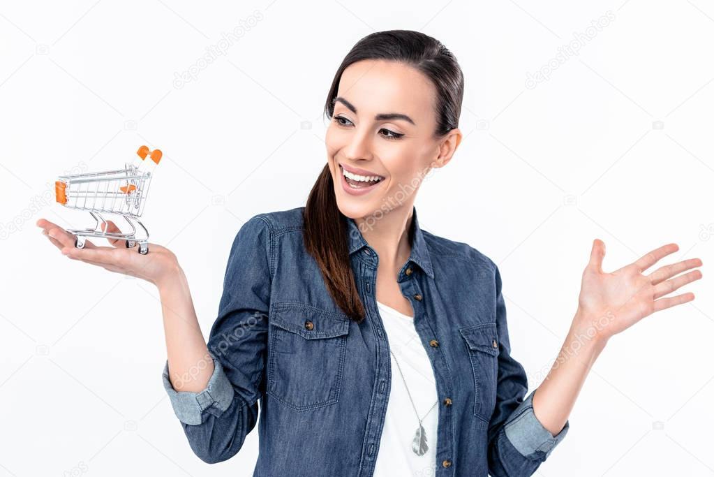 woman holding shopping cart model