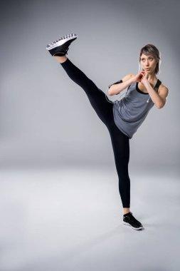 Training sporty woman