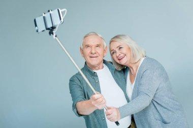 senior couple making selfie