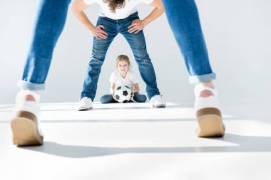 family with soccer ball