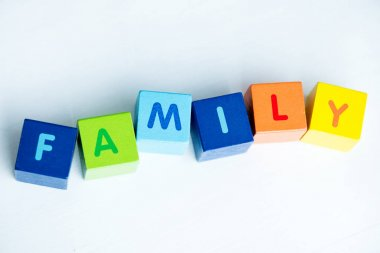 Colorful cubes with letters consists the word family on white stock vector