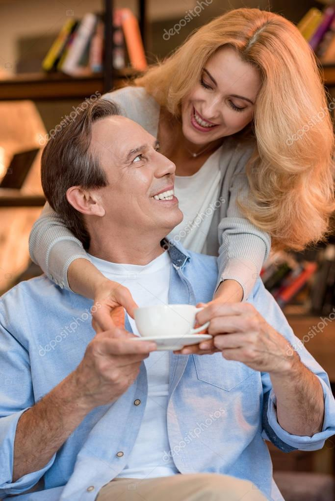 Mature couple with tea