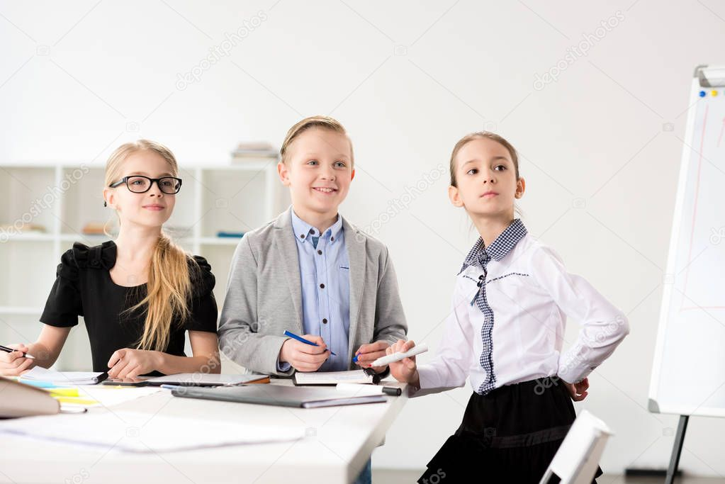 Children working in office