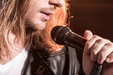 Male singer with microphone