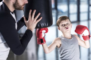 boy boxer practicing punches