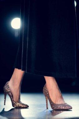 woman in glitter high heels