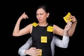 mature businesswoman with sticky notes