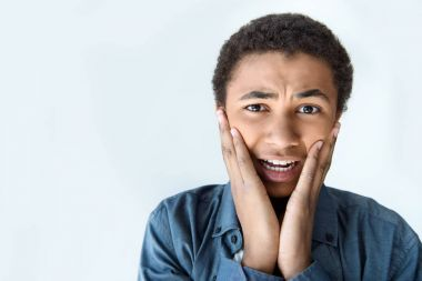 shocked african american teen boy