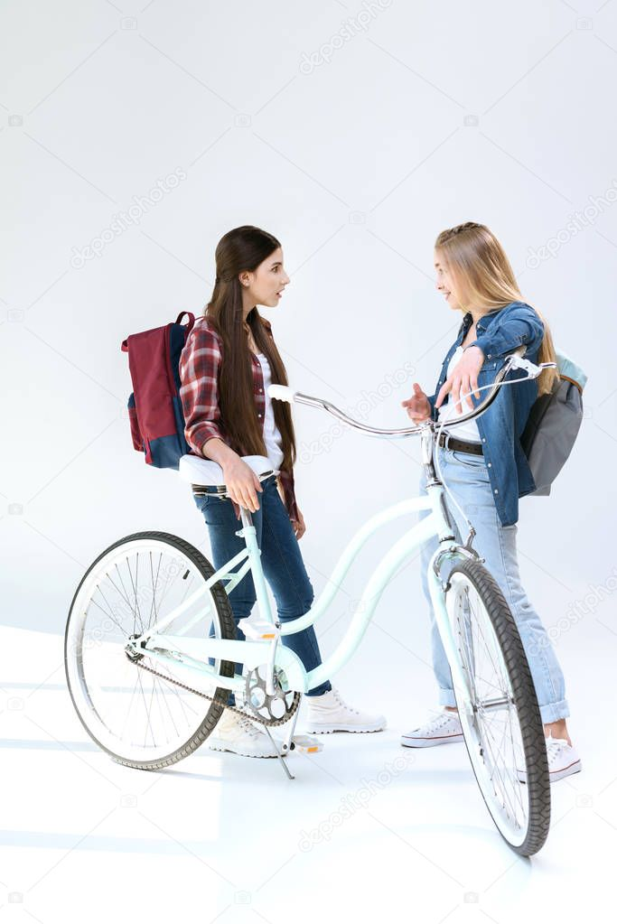 teenage girls having conversation