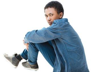 thoughtful african american teenage boy