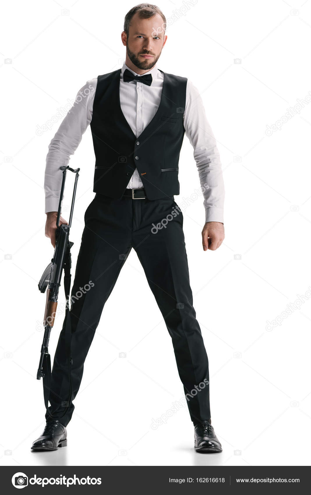 Secret Agent In Suit With Rifle U2014 Stock Photo