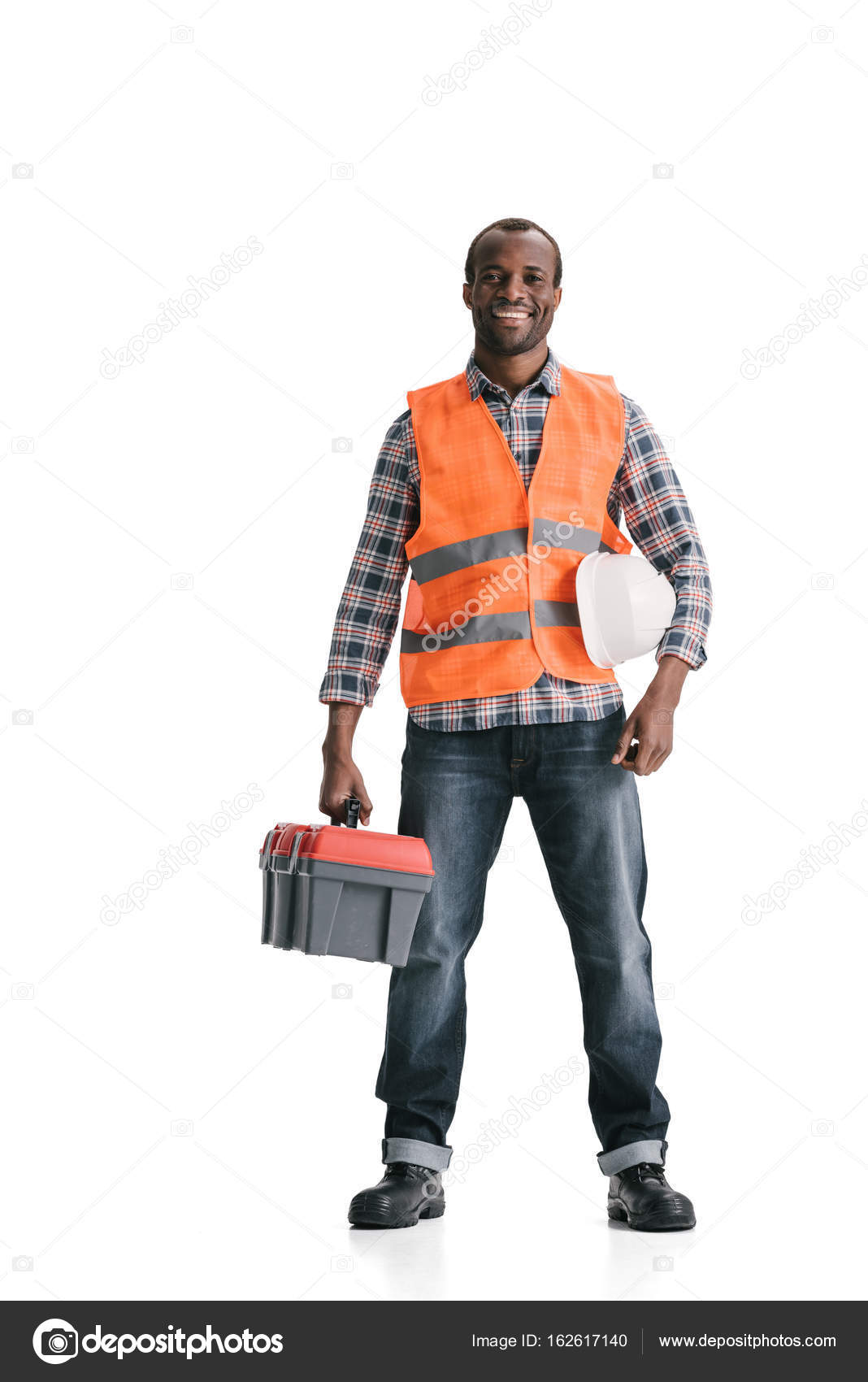 construction worker with toolbox u2014 stock photo tarasmalyarevich