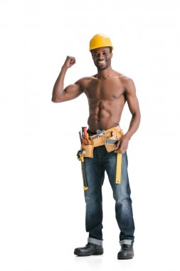 Shirtless handsome afro builder with tool belt showing muscles isolated on white stock vector