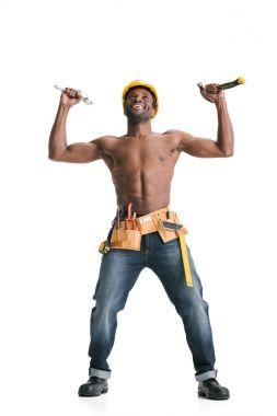 shirtless handsome afro builder