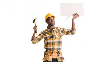 African-american builder holding blank speech bubble isolated on white stock vector