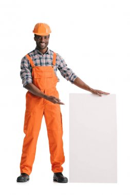 African-american builder with blank white banner isolated on white stock vector