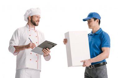 asian courier and making delivery for chef
