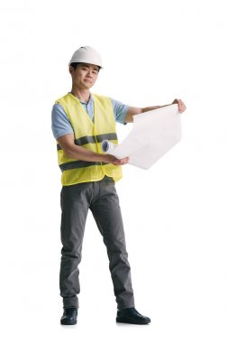 Young asian architect with building plan isolated on white stock vector