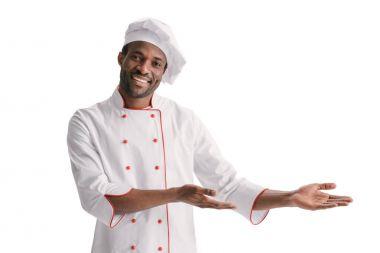 happy chef doing presentation