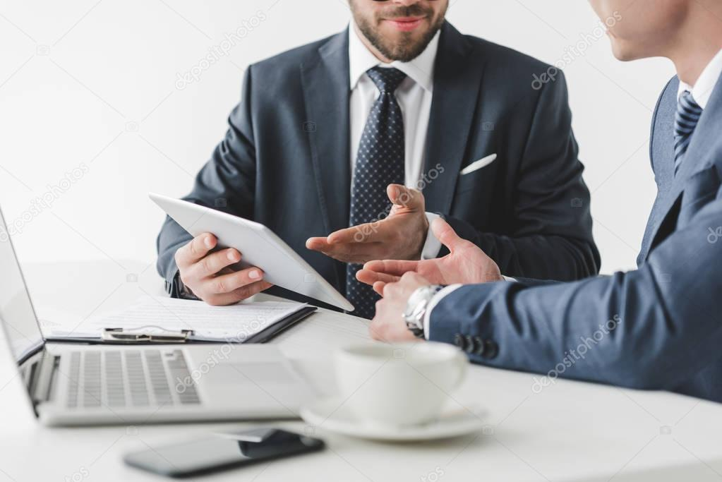 business people with tablet at workplace