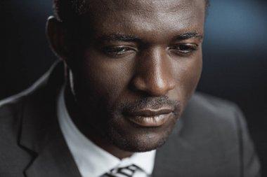 pensive african american businessman