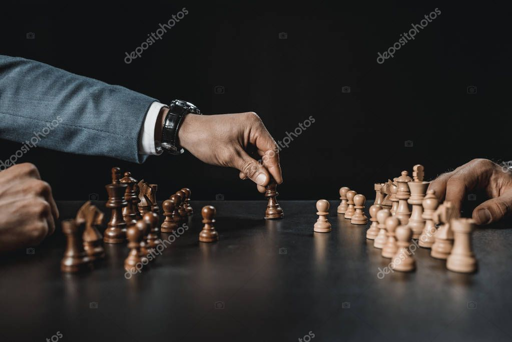 businessmen playing chess