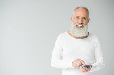 Senior man with smartphone