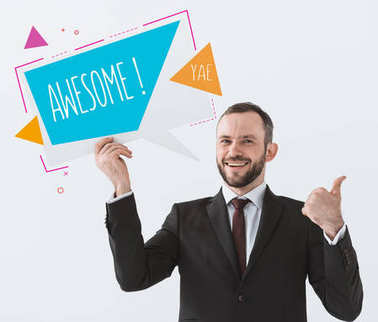 businessman showing card with sign Awesome