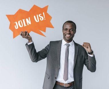 african american businessman with join us card