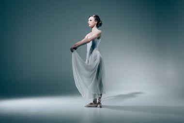Elegant ballerina posing in white dress stock vector