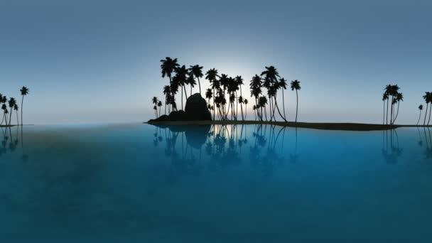 panorámás, trópusi tengerparton naplementekor. ne 360 fokos lencse a mozgó készült