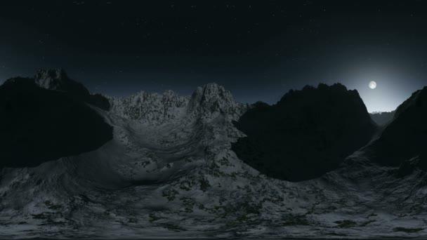 légi vr 360 panoráma a hegyek, az éjszaka. a egy 360 fokos lencse fényképezőgép minden varrás nélkül készült. készen áll a virtuális valóság