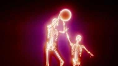 basketball game players with visible bones