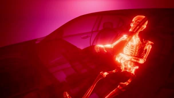 driver with visible bones at transparent car