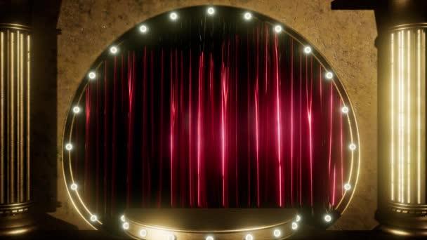 opona jeviště s zlaté pódium a smyčky světla
