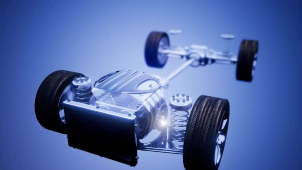 car chassis with engine and wheels