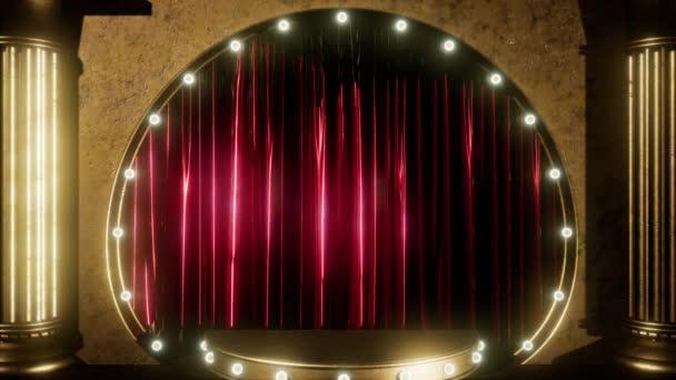 Vorhangbühne mit goldenem Podium und Looping-Lichtern